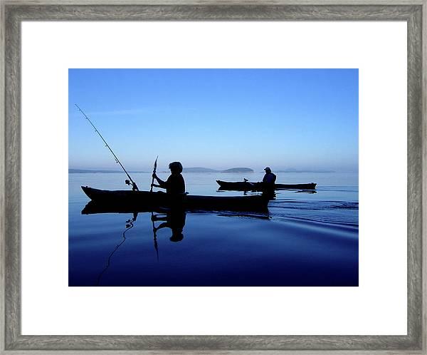 Framed Print featuring the photograph On The Deep Blue Sea by Lorraine Devon Wilke