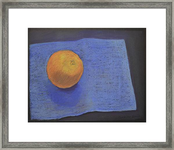 Framed Print featuring the pastel Orange On Blue by Genevieve Brown