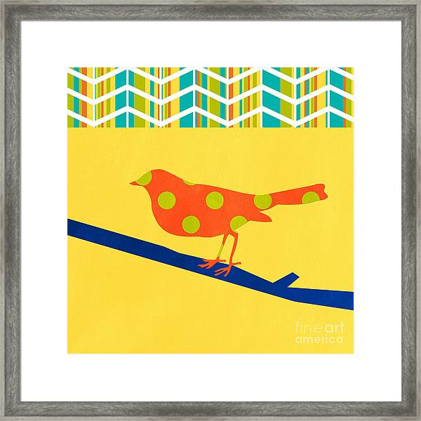 Orange Polka Dot Bird Framed Print
