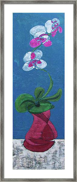 Orchid Inspired Floral On Blue 1 Framed Print