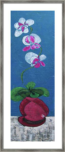 Orchid Inspired Floral On Blue 2 Framed Print