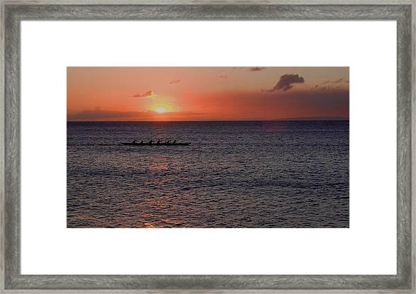 Outrigger Sunset Framed Print by Tony and Kristi Middleton