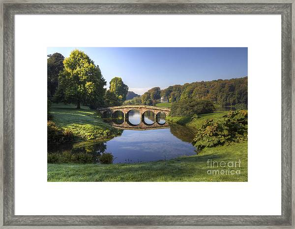 Palladian Bridge At Stourhead. Framed Print