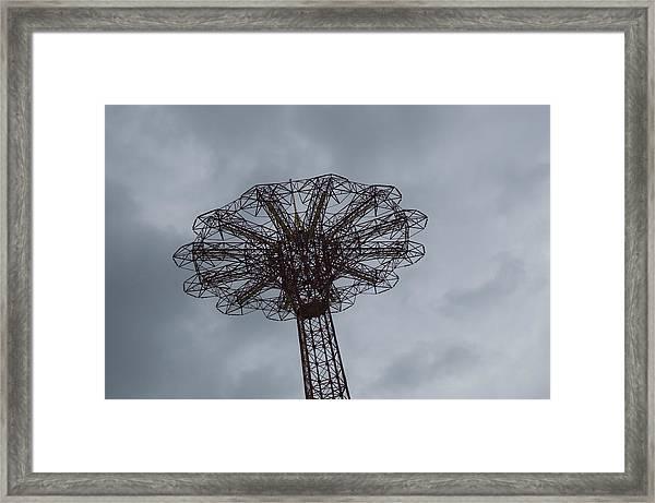 Parachute Jump At Amusement Park Framed Print