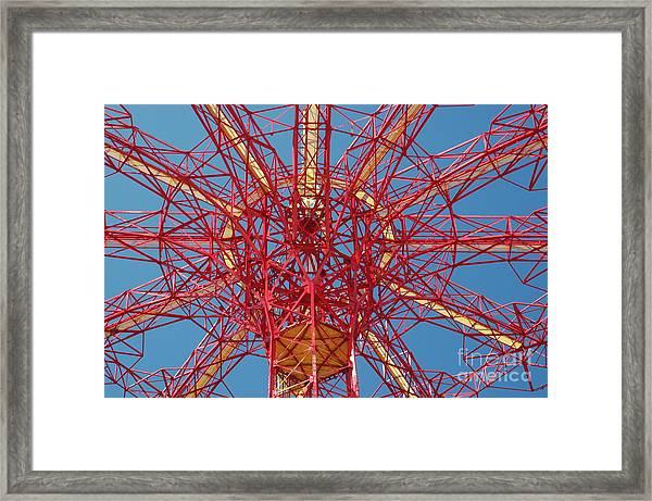 Parachute Jump Skeleton Framed Print