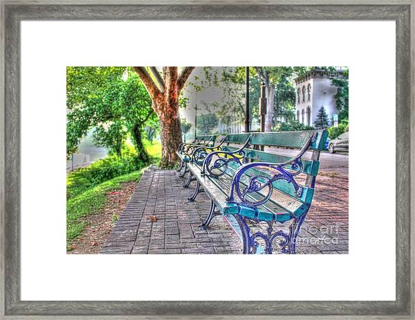 Park Bench On Riverside Drive Framed Print