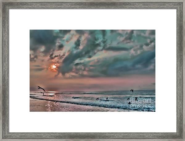 Pastel Sky With Birds Framed Print