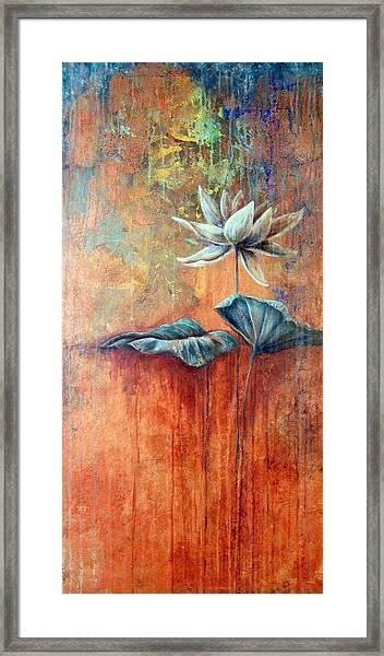 Patina Lotus Framed Print