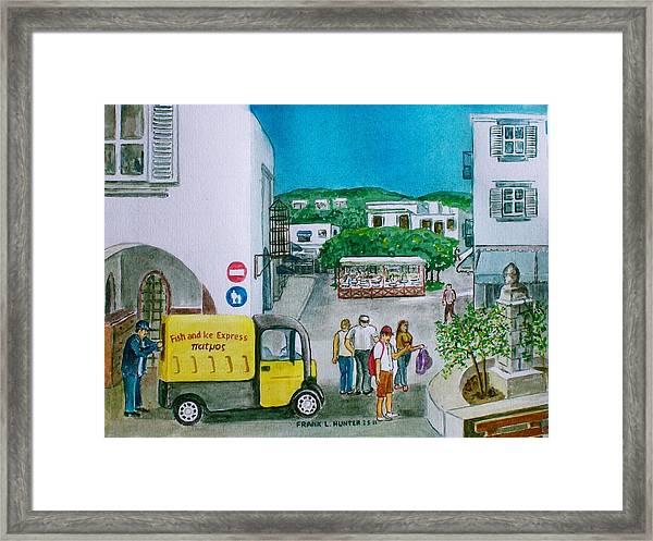 Patmos Fish Monger Framed Print