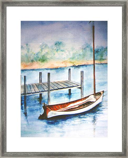 Framed Print featuring the painting Pea Pod Boat by Lynn Buettner