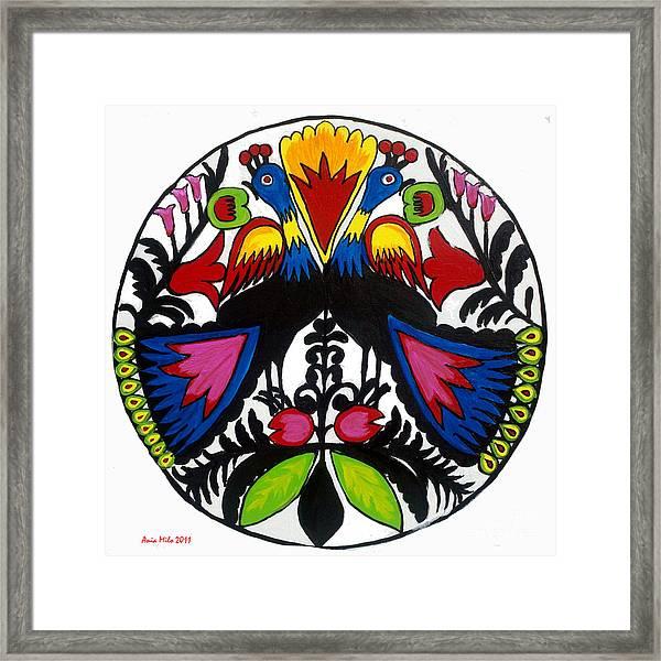 Peacock Tree Polish Folk Art Framed Print
