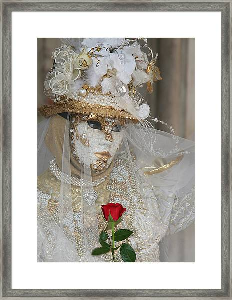 Pearl Bride With Rose 2 Framed Print