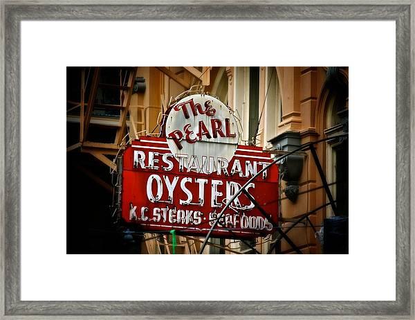 Pearl Restaurant Sign Framed Print