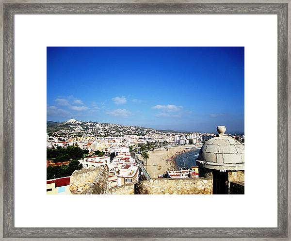 Peniscola Beach Castle Sea View At The Mediterranean Water Front Homes In Spain Framed Print