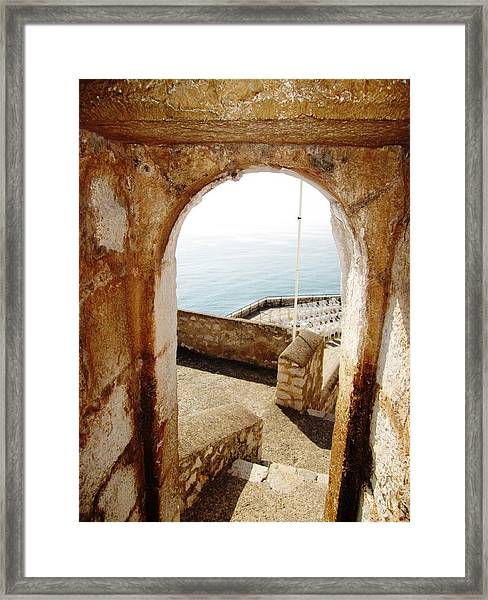 Peniscola Castle Arched Open Doorway Sea View II At The Mediterranean In Spain Framed Print