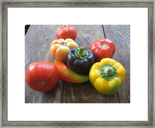 Peppers And Tomatoes Framed Print