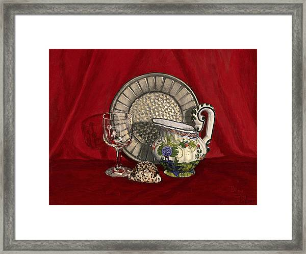 Pewter Dish With Red Cloth. Framed Print