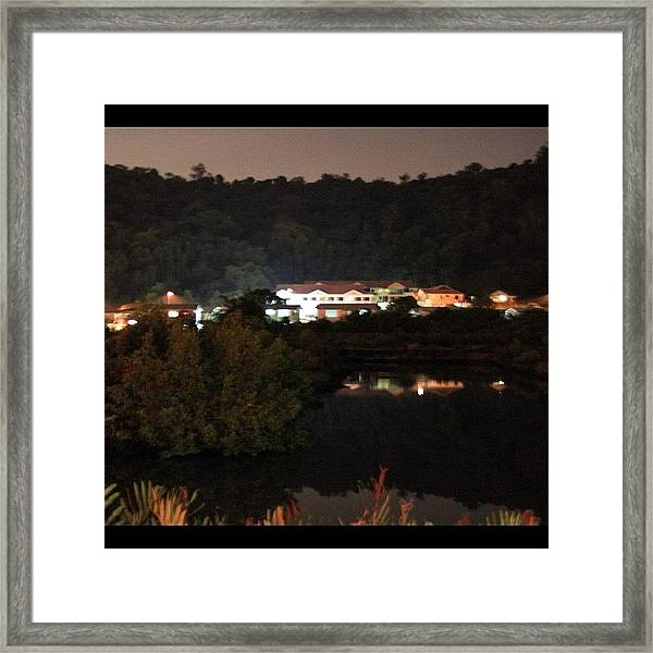 Photo Taken At Night For A Mansion By Framed Print