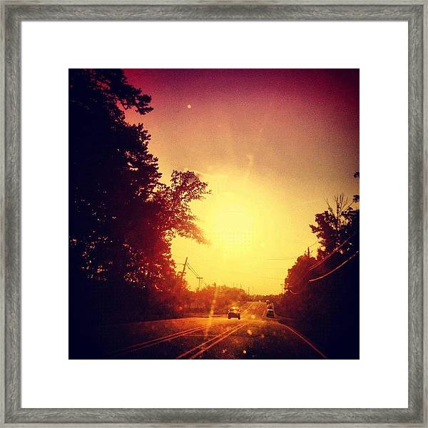 Picking Up Dinner #driving #sunset #sun Framed Print