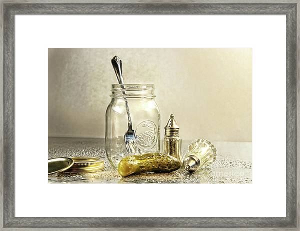 Pickle With A Jar And Antique Salt And Pepper Shakers Framed Print