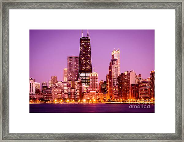 Picture Of Chicago Skyline By Night Framed Print