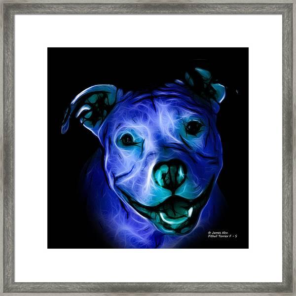 Pitbull Terrier - F - S - Bb - Blue Framed Print