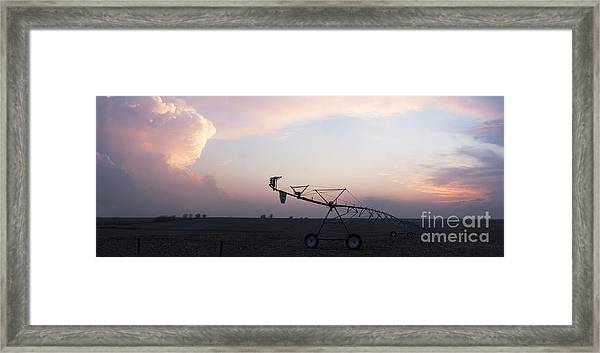 Pivot Irrigation And Sunset Framed Print