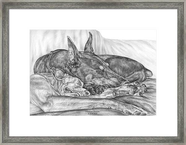 Pleasant Dreams - Doberman Pinscher Dog Art Print Framed Print
