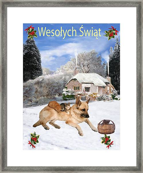 Framed Print featuring the mixed media Polish German Shepherd Holiday by Eric Kempson