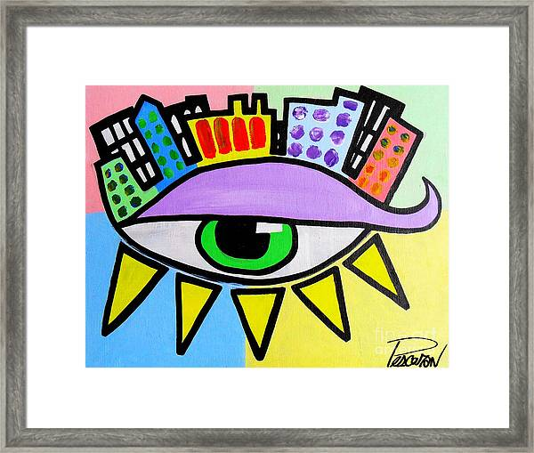 Pop City Eye Framed Print by John Pescoran