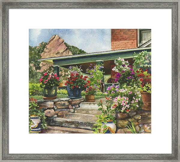 Porch Garden Framed Print
