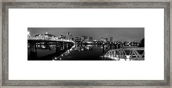 Portland In Black And White Framed Print