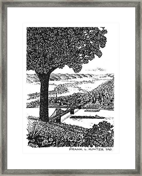 Portsmouth Ohio From A Kentucky Hill Framed Print