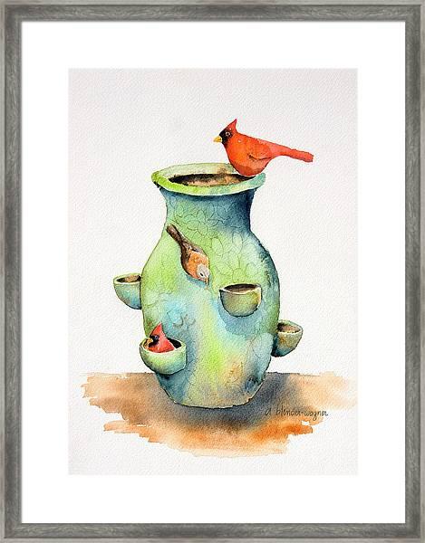 Pottery Vase And Birds Framed Print