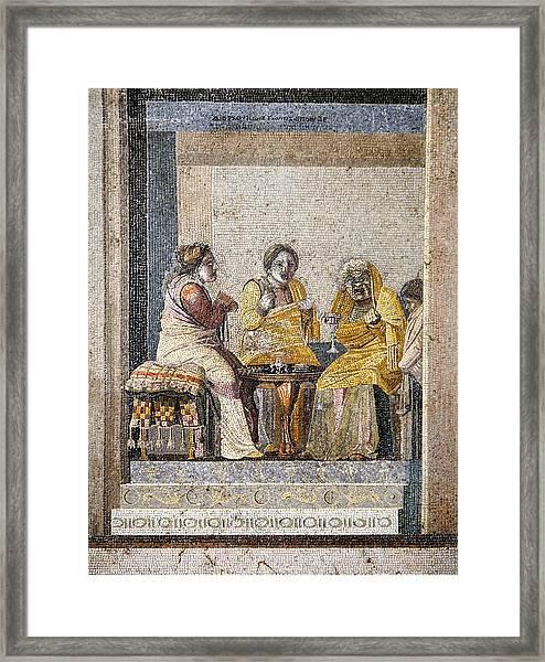 Preparing A Love Potion, Roman Mosaic Framed Print by Sheila Terry