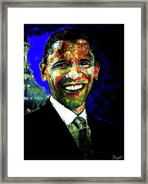 President Barack Obama Framed Print by Romy Galicia