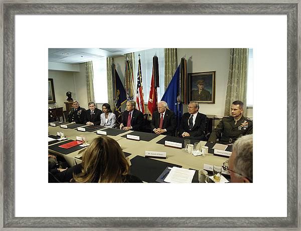 President George W. Bush And Members Framed Print by Everett
