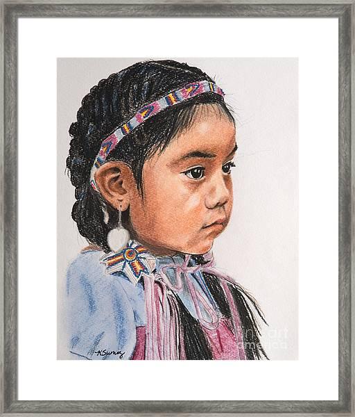 Pretty Native American Girl Framed Print