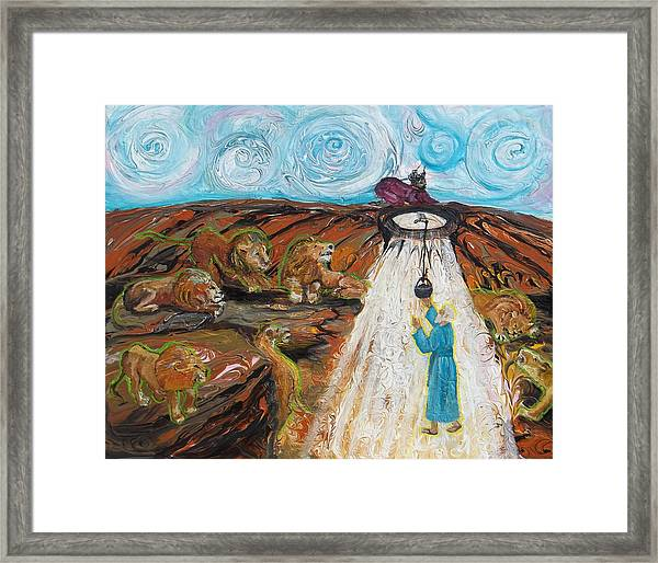 Prophetic Message Sketch 15 Daniel The Lion's Den And The Whirlwind Framed Print