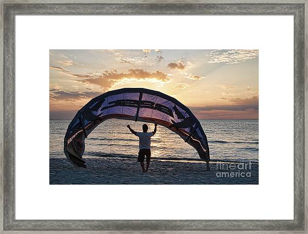 Putting Away The Kite At Clam Pass At Naples Florida Framed Print