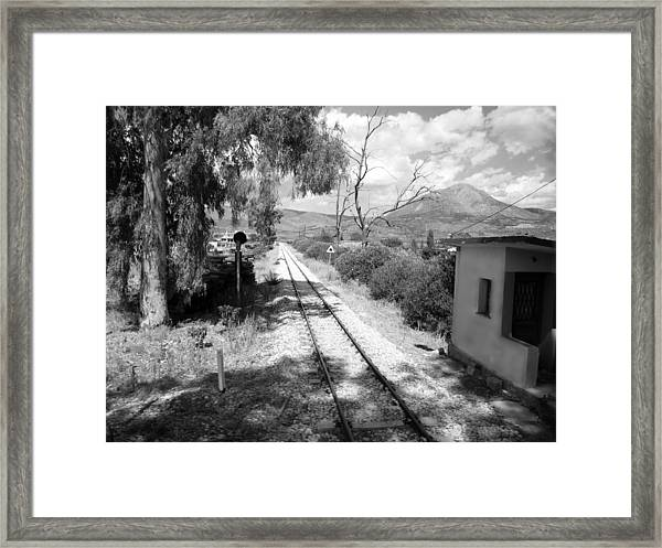 Railroad Crossing In Black And White On The Way From Mycenae To Olympia In Greece Framed Print