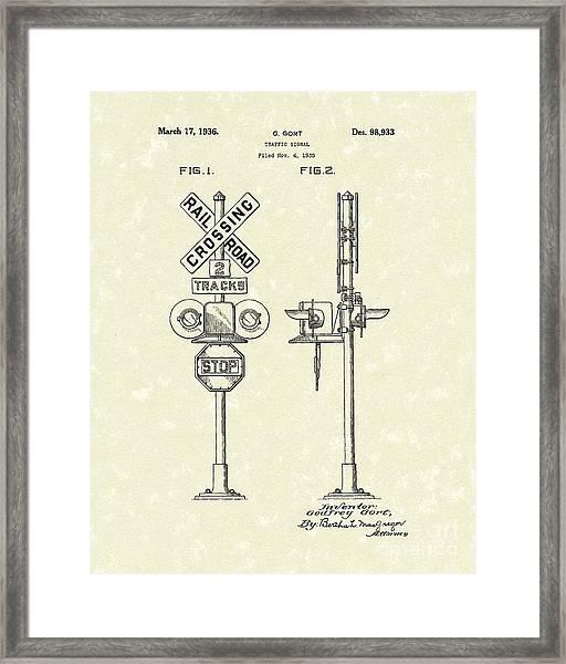 Railroad Traffic Signal 1936 Patent Art Framed Print by Prior Art Design