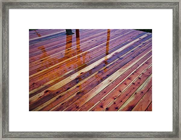 Rain On Redwood Deck Framed Print