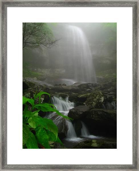 Rainbow Falls In Fog Framed Print