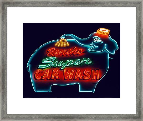 Rancho Car Wash Framed Print