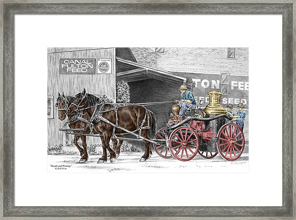 Ready And Waiting - Canal Fulton Ohio Fire Engine Print Framed Print
