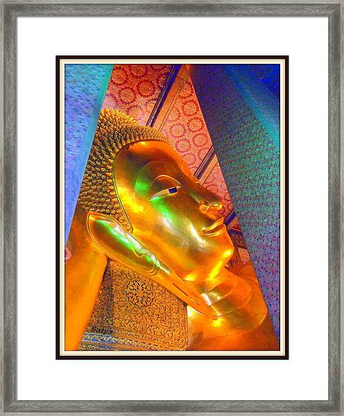 Reclining Buddha Framed Print by Satya Winkelman
