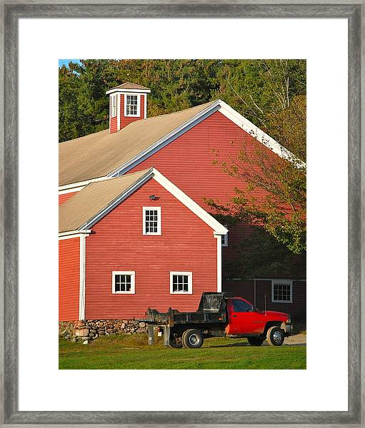 Red Barn - Red Truck Framed Print