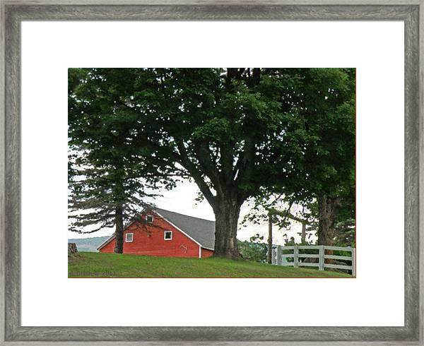 Red Barn White Fence Framed Print