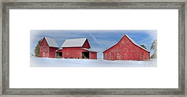 Framed Print featuring the photograph Red Barns In The Snow by Williams-Cairns Photography LLC